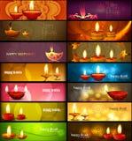 En-têtes colorés lumineux élégants de collection de diwali heureux réglés Photo stock