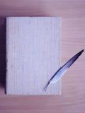 En tunn fjäder på torkdukeräkningen av den gamla boken arkivbild