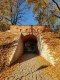 En tunnel av tegelstenar i sen höst arkivbild