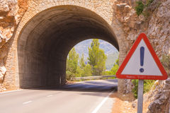 En tunnel på Mallorca, Spanien Arkivfoto