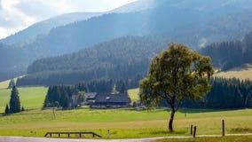 En typisk liten österrikisk by på foten av de alpina bergen fotografering för bildbyråer