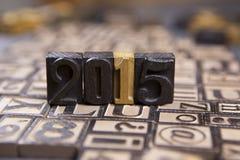 2015 en typset de madera Imagen de archivo libre de regalías