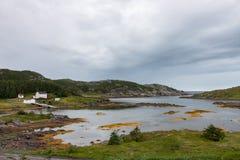 En tyst Newfoundland hamnstad royaltyfri fotografi