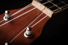 En ukulele på svart Arkivfoto