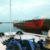 En un barco de río Fotos de archivo libres de regalías