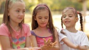 En un día de verano soleado, los niños pasan tiempo en el césped, juegan con la arena colorida, la rocían Festival de colores almacen de metraje de vídeo