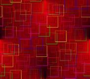 En un fondo rojo con un negro coloreó cuadrados Imagen de archivo libre de regalías