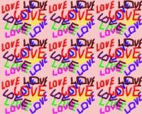 En un fondo rosado el amor de la palabra escrito en diversos colores Imagenes de archivo