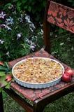 En un jardín verde en un plato, manzana Charlotte Imagen de archivo libre de regalías