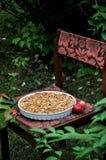 En un jardín verde en un plato, manzana Charlotte imagen de archivo