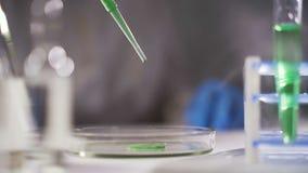 En un laboratorio futurista, un científico con una pipeta analiza un líquido coloreado para extraer la DNA y las moléculas en almacen de metraje de vídeo