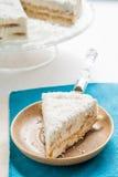 En un pedazo de placa de la torta de coco Foto de archivo