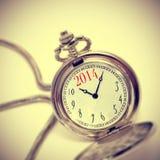 2014 en un reloj de bolsillo Fotografía de archivo