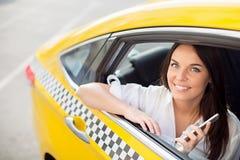 En un taxi Imagenes de archivo