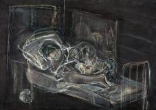 Muchacha y gato durmientes stock de ilustración