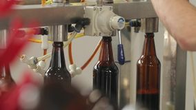En una cervecería, una máquina llena las botellas de cerveza Un maquinista controla el proceso Primer metrajes