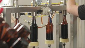 En una cervecería, una máquina llena las botellas de cerveza Un maquinista controla el proceso Primer almacen de video