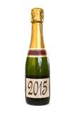 2015 en una etiqueta de una botella de Champán Imágenes de archivo libres de regalías