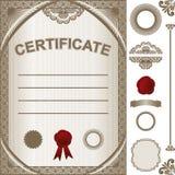Plantilla del certificado con elemen adicionales del diseño Imagenes de archivo