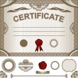Plantilla del certificado con elemen adicionales del diseño Fotografía de archivo