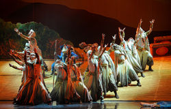 En una luna del ballet de la caravana-Hui del desierto sobre Helan Foto de archivo libre de regalías