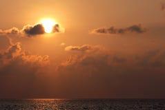 En underbar solnedgång på Sri Lanka Fotografering för Bildbyråer