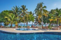 En underbart pöl och ställe för avkoppling vid det tropiska havet sätter på land med kokosnötpalmträd och vardagsrumstolar på Mal Arkivbild