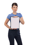 En ung affärskvinna med en clipboard Fotografering för Bildbyråer