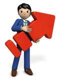 En ung affärsman som rymmer en stor pil royaltyfri illustrationer
