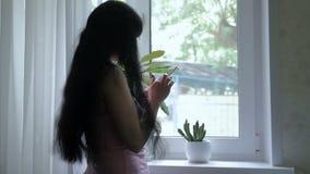 En ung attraktiv flicka med långt härligt hår står vid fönstret, och tala på telefonen, skriver sms långsamt arkivfilmer