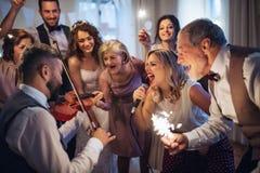En ung brud, brudgum och andra gäster som dansar och sjunger på ett gifta sig mottagande royaltyfri fotografi