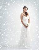 En ung brud i en vit klänning på en snöig bac arkivbilder