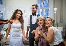 En ung brud och brudgum med andra gäster som dansar och sjunger på ett gifta sig mottagande royaltyfria foton