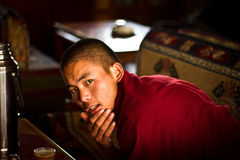 En ung buddistisk munk av Lhasa Tibet Royaltyfria Foton