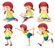 En ung dam som gör olika aktiviteter royaltyfri illustrationer