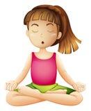 En ung dam som gör yoga bara stock illustrationer