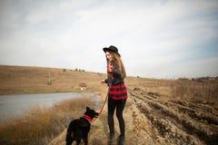 En ung flicka g?r med en hund p? kusten av en sj? tillbaka sikt royaltyfri bild