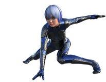 En ung flicka i futuristisk harnesk med en pistol Royaltyfri Bild