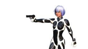 En ung flicka i latex med kort hår och ett vapen Arkivfoton