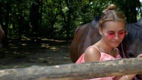 En ung flicka i rosa sundress slår härliga bruna hästar i en paddock 4K videoPortrait 4k av en ung flicka med födelsemärken lager videofilmer