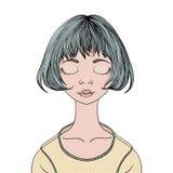 En ung flicka med stängda ögon Vektorståendeillustration som isoleras på vit stock illustrationer
