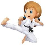 En ung flicka som gör karate stock illustrationer