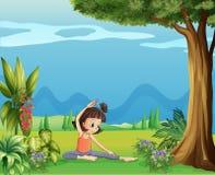 En ung flicka som gör yoga under trädet stock illustrationer