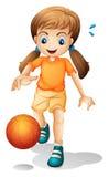En ung flicka som spelar basket stock illustrationer