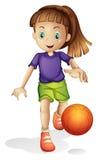En ung flicka som spelar basket vektor illustrationer