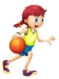 En ung flicka som spelar basket royaltyfri illustrationer