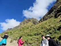 En ung grupp av internationella fotvandrare som ledas av deras lokala Incahandbok, navigerar de Anderna bergen på den Salkantay s royaltyfri foto