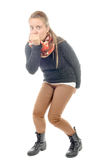 En ung kvinna har diarré Royaltyfria Bilder