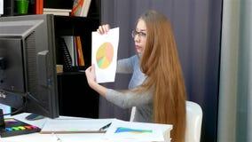 En ung kvinna - i kontoret är online-pratstund med ledaren, flickan är att klandra, ledset, befogat arkivfilmer