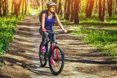 En ung kvinna - en idrottsman nen i en hjälm som rider en mountainbike utanför staden, på vägen i en pinjeskog Arkivbild